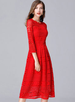 Lace Hollow Out Three Quarters Sleeve Skater Dress
