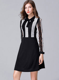 Lace Striped Patchwork Long Sleeve Skater Dress