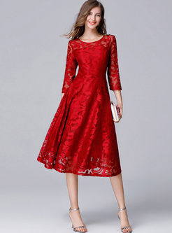 Red Lace See Through Big Hem Skater Dress