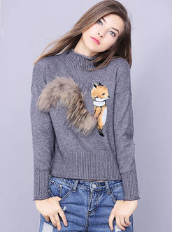 Cartoon Fox Design Long Sleeve Knitted Sweater