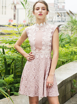 Pink Stereoscopic Flower Sleeveless A-line Dress