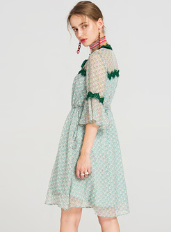 Green Elegant Lace Perspective Skater Dress