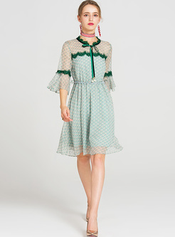 Green Elegant Lace Perspective Skater Dress
