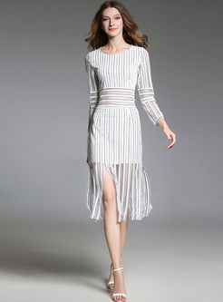 Hollow Out High Waist Striped Lace Tassel Bodycon Dress