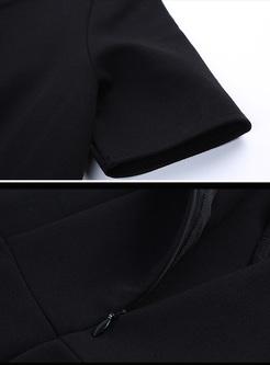 Black Elegant V-neck Skater Dress