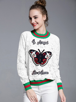 Street Butterfly Embroidery Straight Sweatshirt