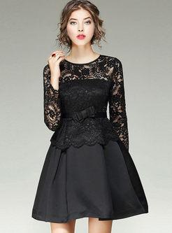 5ef5cfd97af0 Black Lace Splicing Long Sleeve Skater Dress ...