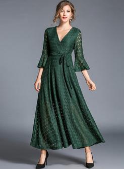 Brief V-neck Flare Sleeve Lace Maxi Dress