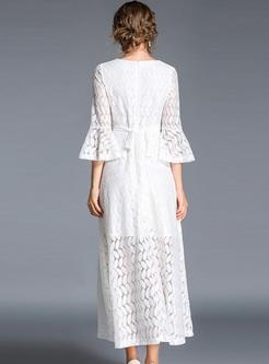 White V-neck Flare Sleeve Lace Maxi Dress