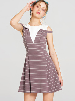 Street Striped Color-blocked A-line Dress