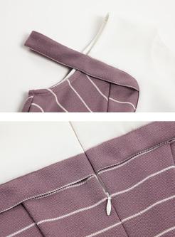 Street Striped Color-blocked A-line Dress