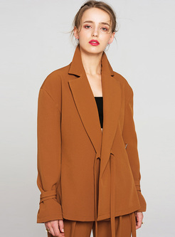 Brown Slim Flare Sleeve Tied Blazer