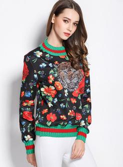 Street Floral Print Loose Sweatshirt