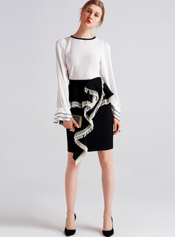 Street Asymmetric Tassel Mini Slim Skirt