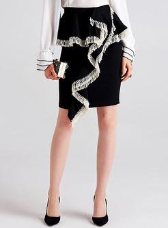 Street Asymmetric Tassel Mini Slim Skirt