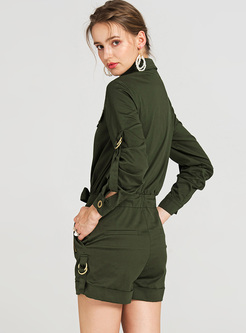 Casual Lapel Green Long Sleeve Rompers