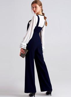 Chic Slim Waist Blue Overalls