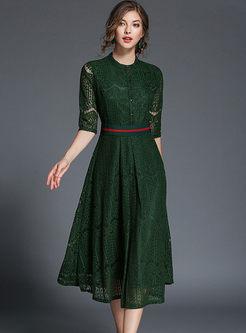 363347ea10dd Elegant Lace Belt Half Sleeve Skater Dress