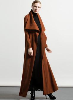 Brown Lapel Slim Big Hem Trench Coat