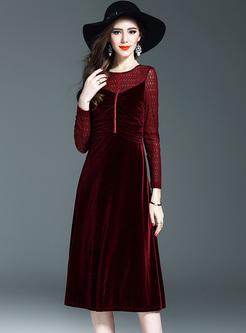 Brief Lace Waist Long Sleeve Skater Dress