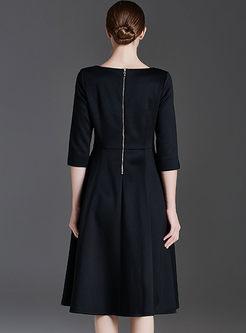 Elegant O-neck Zippered Slim Skater Dress