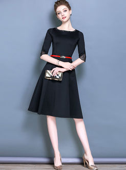 ... Vintage Black Belt Half Sleeve Skater Dress ... f0eb4ad0f