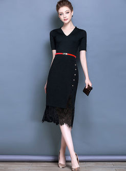Work Black V-neck Belt Bodycon Dress
