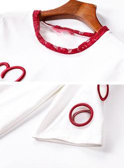 Embroidered Hole Half Sleeve T-shirt