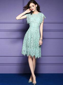 Green Elegant Lace High Waist Skater Dress