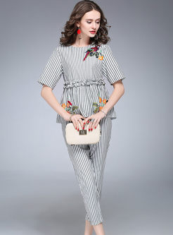 Sweet Gathered Waist Striped Embroidered Two-piece Outfits
