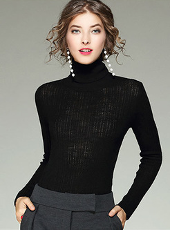 Solid Color Turtleneck Woolen Sweater