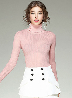 Sweet Pink Slim High Neck Woolen Sweater