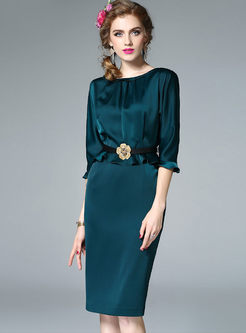 Vintage Lotus Leaf Sleeve Belt Bodycon Dress