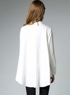 Brief Loose Stand Collar Long Sleeve Blouse