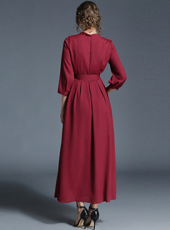 Red V-neck High Waist Maxi Dress