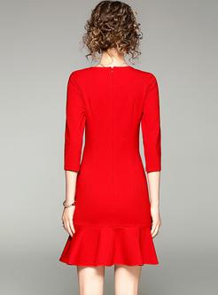 Red Brief Slim Three-quarters Mermaid Dress
