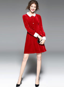 ... Cute Red Velvet Turn Down Collar Long Sleeve Skater Dress ... 00fa71b2e