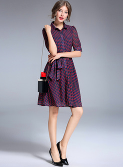 Street Grid Print Lapel Skater Dress