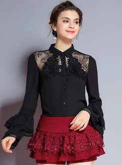 Black Lapel Stereoscopic Flower Slim Blouse