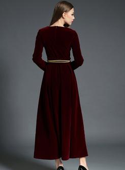 Elegant Belted Long Sleeve Maxi Dress