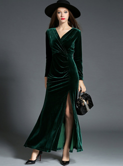 Green Sexy V-neck Waist Split Maxi Dress
