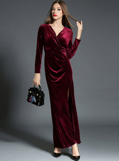 Red Sexy V-neck Waist Split Maxi Dress