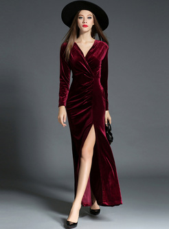 Red Sexy V-neck Waist Split Maxi Dress