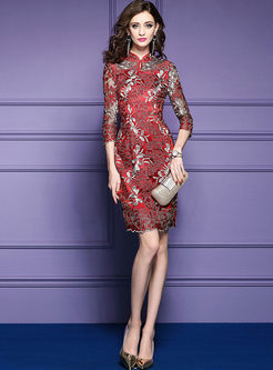 Vintage Embroidered Improved Cheongsam Bodycon Dress