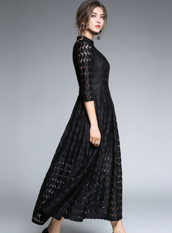 8a2fa158bdf1 ... Brief Black Lace Stand Collar Three Quarters Sleeve Maxi Dress ...