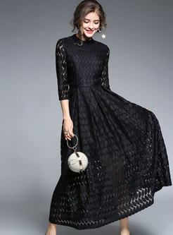 Brief Black Lace Stand Collar Three Quarters Sleeve Maxi Dress