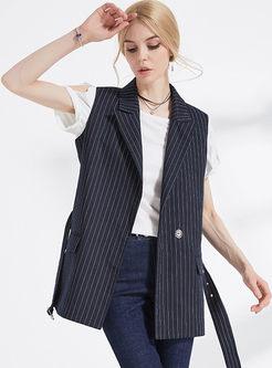 Striped Notched Neck Belt Sleeveless Vest