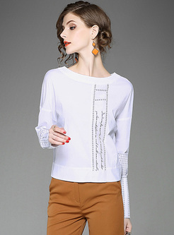 Brief Print Back-bowknot Straight T-shirt