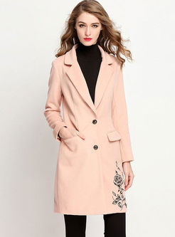 Elegant Embroidered Long Sleeve Trench Coat