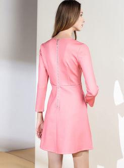 Pink Cranes Design Long Sleeve Skater Dress